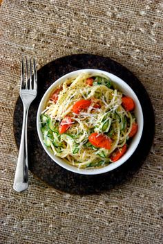 Healthy Lemon Zucchini Pasta - only 340 calories for a giant, satisfying serving. Perfect with a cold glass of wine on a summer night.
