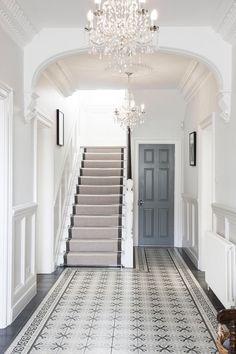 Entrance hall ideas with stairs a timeless quality to this hallway entrance hall and stairs ideas House, Home, Victorian Homes, House Entrance, House Styles, Hallway Flooring, Victorian Townhouse, Hallway Designs, Stairs Design