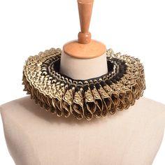 Renaissance Tudor Elizabethan Gold & Brown Lace Ruff Neck Collar - DeluxeAdultCostumes.com
