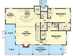 New house front elevation master suite 30 Ideas Tree House Plans, 2 Bedroom House Plans, Small House Plans, House Floor Plans, Up House, House Front, Master Suite Floor Plan, Cottage Plan, Cottage House