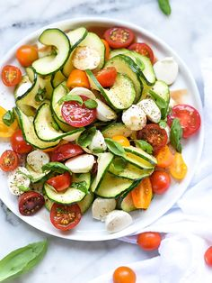 Caprese-Zucchini-Salad-foodiecrush.com Just take out the cheese, maybe sub another creamy veggie!