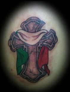 Italian flag cross tattoo Tattoos by Anna Small Hello! Here we have nice photo about italian sleeve tattoo designs. We wish these photos ca. Tribal Tattoo Designs, Tattoo Sleeve Designs, Tribal Tattoos, Sleeve Tattoos, Body Art Tattoos, I Tattoo, Tatoos, Celtic Cross Tattoos, Celtic Crosses