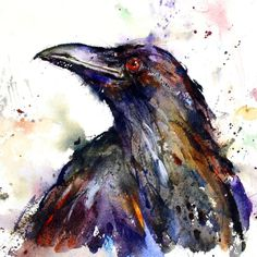 Items similar to RAVEN Crow Large Watercolor Print on Etsy Watercolor Paintings Of Animals, Art Watercolor, Watercolor Portraits, Animal Paintings, Raven Art, Raven Tattoo, Desenho Tattoo, Wow Art, Bird Art