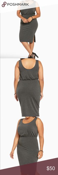 """👠Gray Tank Dress Charcoal gray knit dress is sexy with a side slit, yet super comfy with a stretch waistband. Turn it up easy with strappy sandals or keep it casual with a crop jacket & converse. Either way, this dress is a winner! Bust fits 40-42"""", waist 34-36"""". Dresses"""