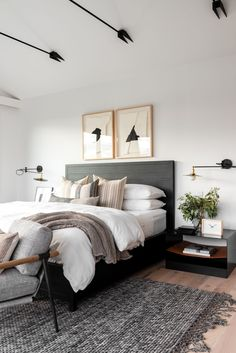 Transitional Office Master Suite in 2020 Home bedroom Cheap bedroom decor Home decor bedroom Cheap Bedroom Decor, Room Ideas Bedroom, Home Decor Bedroom, Cheap Home Decor, Bedroom Interior Design, Modern Bedroom Design, Monochrome Bedroom, Grown Up Bedroom, Industrial Bedroom Decor