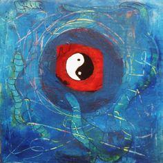 Ellen berens.  Seeking Balance Uit de serie, De Magische cirkel. Een doekje vanuit de ziel. Een lichtpuntje om te geven, als oppepper, krachtgever, of als teken van vriendschap.