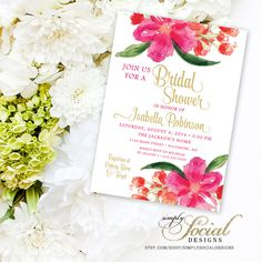 Hot Pink Watercolor Flowers Bridal Shower Baby Shower Invitation Printable