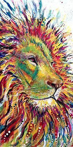 Colorful Lion art print spirit animal by Ellen Brenneman Safari Nursery, Nursery Art, Nursery Decor, Wall Decor, Nursery Prints, Room Decor, Art Totem, Lion Spirit Animal, Black Panther Art