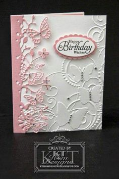 Birthday Wishes - Stamp & Scrapbook EXPO Stampin Up Simply Sketched, Darice Butterfly Embossing Folder, Memory Box Kensington Border by LeAnn Ostergaard