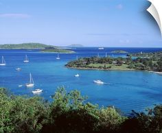 US Virgin Islands, St. John, Caneel Bay, High angle view of boats in the sea