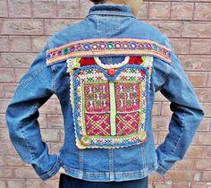 Uzbek Suzani Vintage Kuchi Afghan ATS BOHO Style Ethnic *JIANLANG* Jeans Jacket