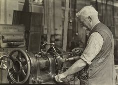 Old-Time Machinist at Lathe, 1938