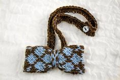 Boys Hand Knit Bow Tie Argyle Pattern,Blue, Brown,Grey,One Size Fits All, Classic Design,Woolen Bowtie,Adjustable Band