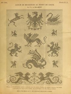Some heraldic and mythical beasts for your cross-stitching pleasure. 3 of Album de broderies au point de croix. Cross Stitch Bird, Cross Stitch Borders, Cross Stitch Samplers, Cross Stitch Animals, Cross Stitch Charts, Cross Stitch Designs, Cross Stitching, Cross Stitch Patterns, Filet Crochet