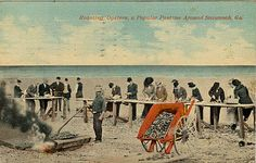 Roasting oysters in Savannah, GA.