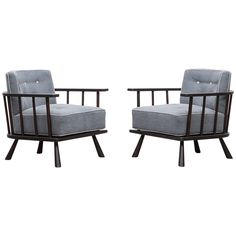 Pair of T.H. Robsjohn-Gibbings Lounge Chairs 'B', 'New Upholstery'