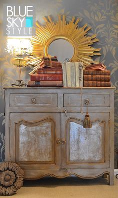 How to create this 2 colored dresser using Artisan Enhancements Leaf & Foil Size, Scumble Glaze, Clear Finish, Clear Topcoat Sealer, and Chalk Paint® by My Patch of Blue Sky.