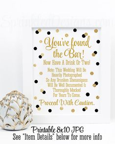 drunken shenanigans open bar sign youve found the bar cash bar sign alcohol sign black gold printable wedding reception decorations