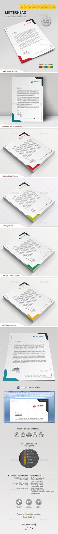 A simple unique letterhead for all kind of business and personal purpose usages  #stationery #identity #print ready • Click here to download ! http://graphicriver.net/item/letterhead/10287939?ref=pxcr