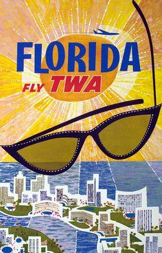 Florida - Fly TWA by Klein, David |  Shop original vintage #posters online: www.internationalposter.com.