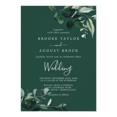 Emerald Greenery   Green Wedding Invite with dark green moody watercolor leaves and eucalyptus with a modern woodland boho feel on a hunter emerald green background. Click to customize with your personalized details today. Green Wedding Invitations, Beautiful Wedding Invitations, Custom Invitations, Baby Shower Invitations, Unisex Baby Shower, Emerald Green Weddings, Wedding Planning Inspiration, Reception Signs, Gender Neutral Baby Shower