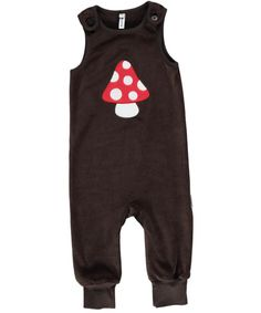 Maxomorra Organic velour play suit - Brown Toadstool Retro Baby Clothes - Baby Boy clothes - Danish Baby Clothes - Smafolk - Toddler clothing - Baby Clothing - Baby clothes Online
