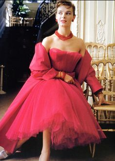 "1954 Model in Dior evening ensemble called ""Moulin Rouge"""