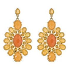 """Set of drop earrings highlighted by a center orange stone.   Product: 1 Pair of earringsConstruction Material: Zinc, tin, plastic faceted stone, gold plated and surgical steel postColor: OrangeFeatures:  Surgical steel postsSolar-inspired Dimensions: 2.25"""" H x 1"""" W eachCleaning and Care: Keep away from any forms of moisture, lotions, or chemicals. Keep in plastic baggies to avoid tangling and tarnishing."""
