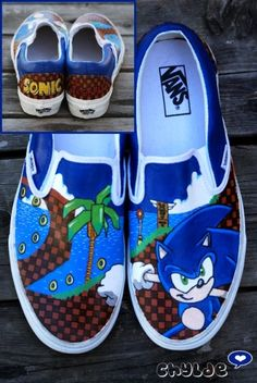 Custom Sonic the Hedgehog Vans Slip on Shoes Sonic Party, Sonic Birthday Parties, Boy Birthday, Custom Painted Shoes, Custom Shoes, Sonic Shoes, Hedgehog Birthday, Rick Y Morty, Video Game Characters
