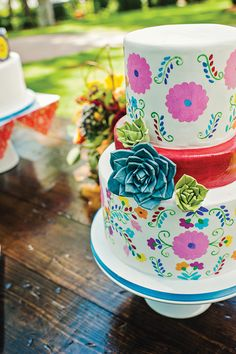 Mexican fiesta inspired wedding | Charlotte Wedding Magazine | Cakes by Wow Factor Cakes | Design by The Graceful Host | Floral by Lily Greenthumb's | Photography by Smitten & Hooked | Summer 2013 | Charlotte, North Carolina