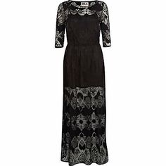 Black Chelsea Girl lace 3/4 sleeve maxi dress $70.00