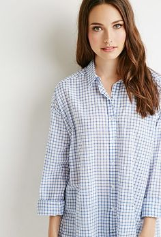 Contemporary Oversized Grid Pattern Shirt | LOVE21 - 2000114697
