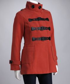 Take a look at this Rust Buckle Mock Neck Peacoat by PAPARAZZI on #zulily today! London calling.