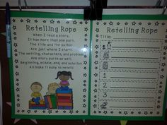 Retelling rope saw in a Kind. Class and loved it. Really helped students remember parts of story & how to retell it. Teacher had papers to also draw or write about each part... see rope pix