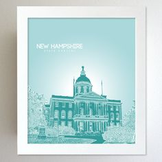 New Hampshire Skyline State Capitol Landmark - Modern Gift Decor Art Poster 8x10. $20.00, via Etsy.