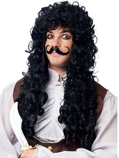 Franco American Novelty Company Captain Hook Wig and Mustache Costume Accessory Set, White, One Size Costume Wigs, Costume Makeup, Mustache Party, Captain Hook Costume, Peter Pan Costumes, Red Wigs, Pink Wig, Afro Wigs