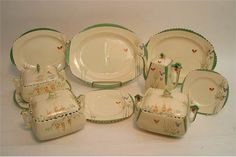 A small group of Art Deco Burleigh Ware part ceramics including some painted with butterflies amo