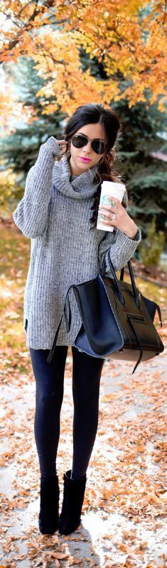 Over-sized sweater + leggings.