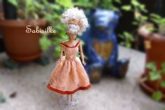 Puppenkleidung - Kleid mit Strass-Engeln für Barbie *** orange - ein…