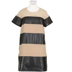 Sea Ny Black And Beige Leather And Silk Dress