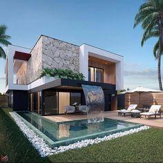 Modern Villa Design, Modern Exterior House Designs, Dream House Exterior, Exterior Design, Modern House Facades, Modern Architecture House, Architecture Design, Duplex House Design, Home Building Design