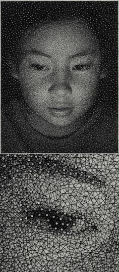 Portraits by Kumi Yamashita made with a single thread wrapped around a complex network of nails http://ow.ly/kz3Q5