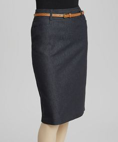 Take a look at this Dark Navy Belted Pencil Skirt by NYCC on #zulily today! Would be cute with tights and boots with a sweater for work.