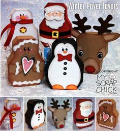 """My Scrap Chick Winter Paver Favor Boxes & Cards SVGs: look up """"Winter Paver… Painted Bricks Crafts, Brick Crafts, Painted Pavers, Stone Crafts, Winter Christmas, Christmas Holidays, Christmas Decorations, Christmas Ornaments, Christmas Boxes"""