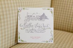 Wedding invitation with sketch of venue