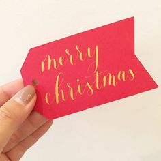 Merry Christmas gift tags - modern calligraphy - gold ink - pointed pen - write pretty things