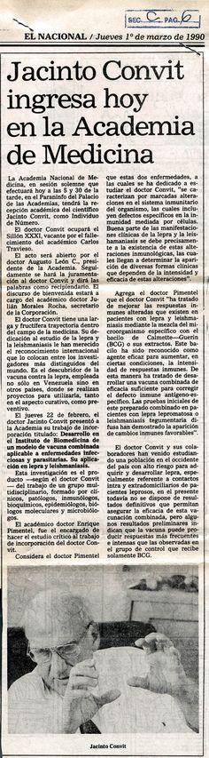 Jacinto Convit ingresó en la Academia de Medicina. Publicado el 1 de marzo de 1990.