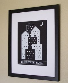 Home Sweet Home City  white 11x14 by theemvee on Etsy, $10.00