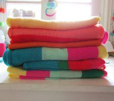 Renkli örgü battaniye modelleri