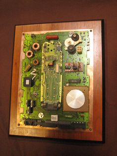 Techie wall art made from electronics parts. by OfficeDeco on Etsy, $37.00